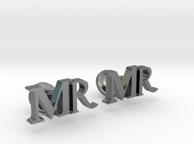 MR personalised cufflinks in Premium Silver