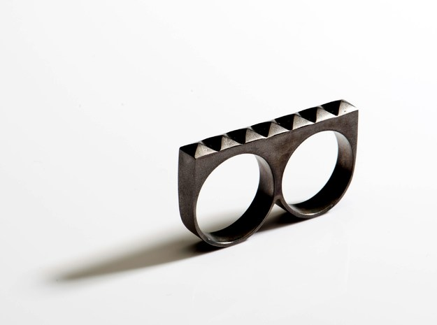 studded double ring in Polished Silver