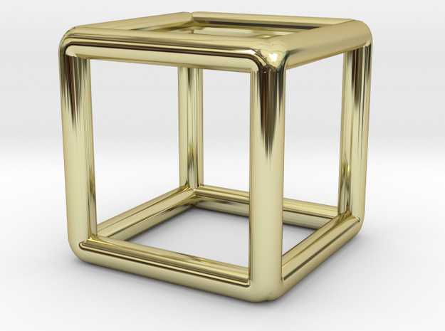 Building Cube Pendant in 18k Gold Plated