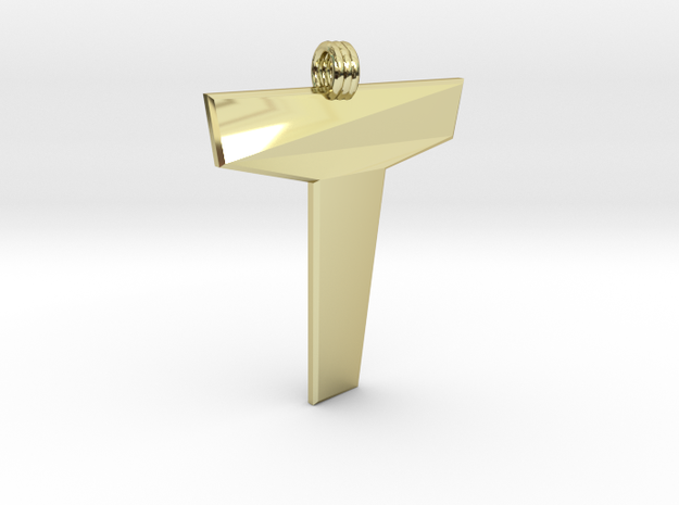 Distorted letter T in 18k Gold Plated Brass