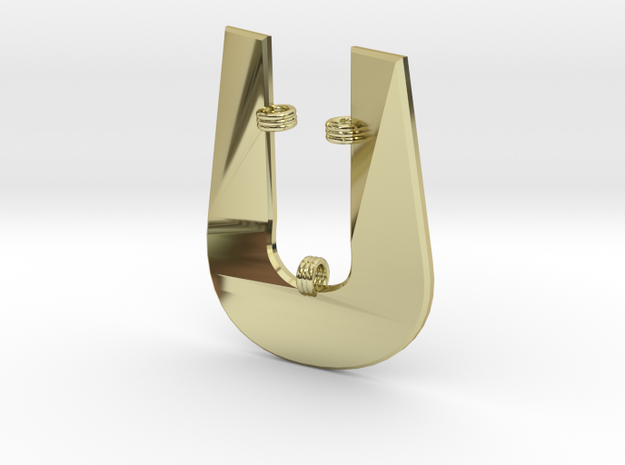 Distorted letter U in 18k Gold Plated Brass