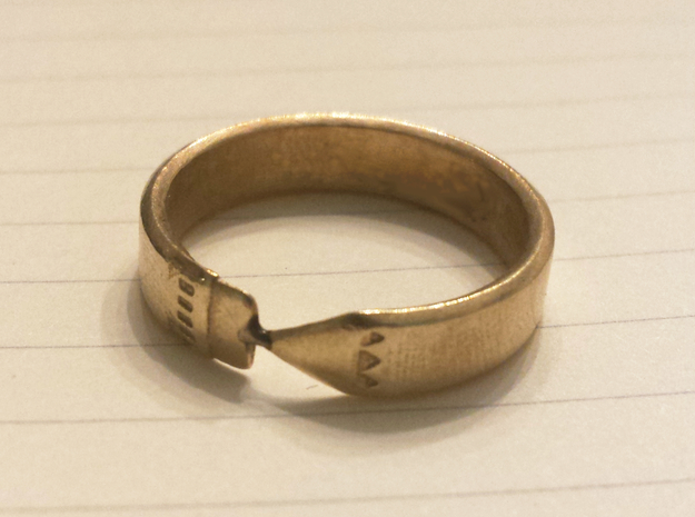 Pencil Ring, Size 7 in Raw Brass