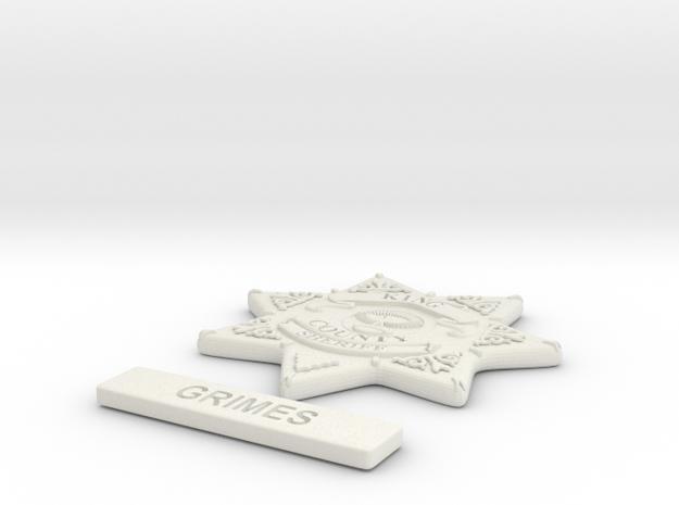 1/3 scale Walking dead Sheriff badge Grimes in White Natural Versatile Plastic