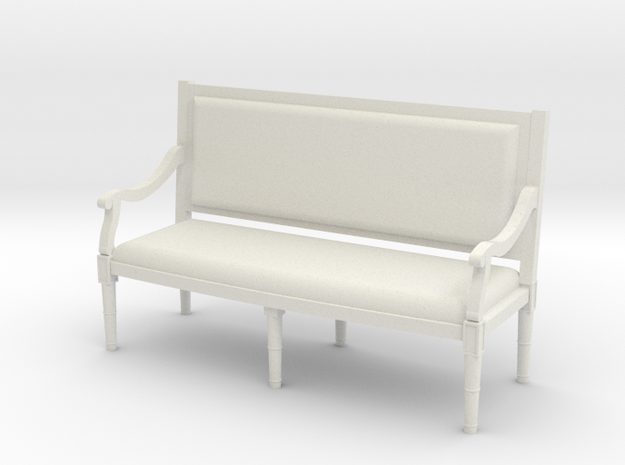 1:48 Louis XVI Sofa Settee with Straight Back in White Strong & Flexible