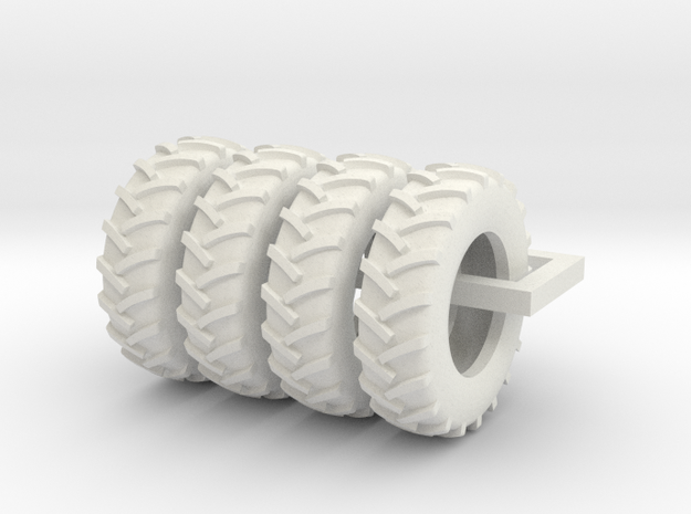 1/64 Scale 18.4R34 Tires, Set Of 4 in White Strong & Flexible