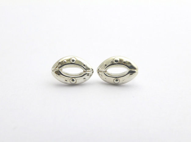 Stomata Earrings - Science Jewelry in Polished Silver