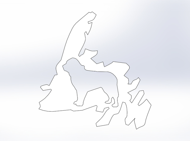 Newfoundland Dog Cutout (M) in White Natural Versatile Plastic