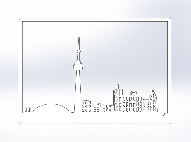 Toronto Skyline - 16 X 23 (XL) in White Natural Versatile Plastic
