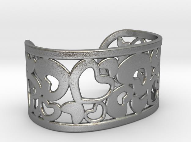 Fine Heart Cuff in Natural Silver