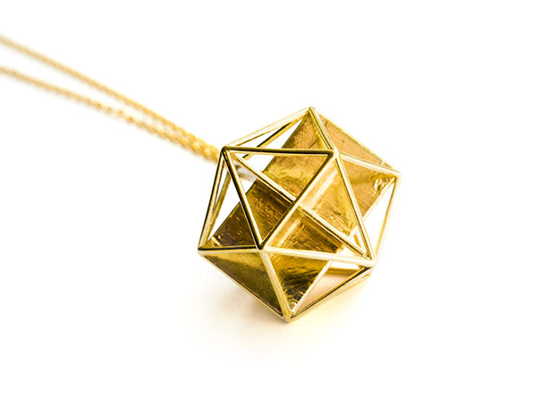 Golden Icosahedron Pendant in Natural Brass