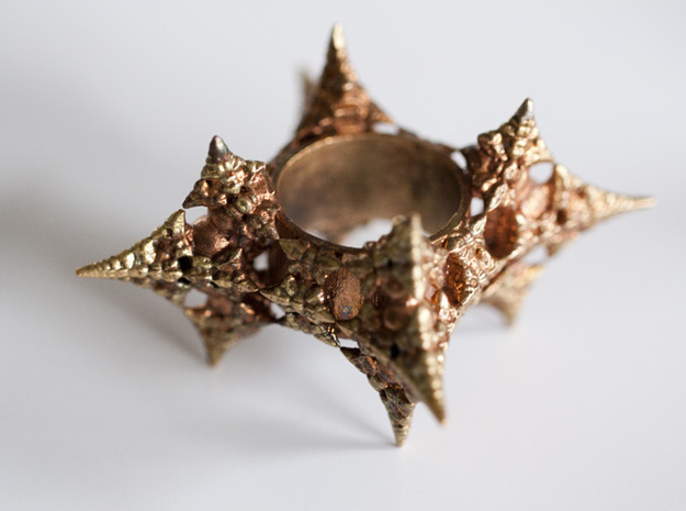 Dragon Fractal Ring 21mm 3d printed Dragon QUEEN - Raw Bronze