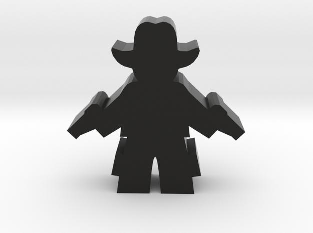 Game Piece, Cowboy, Standing Two Pistols in Black Natural Versatile Plastic