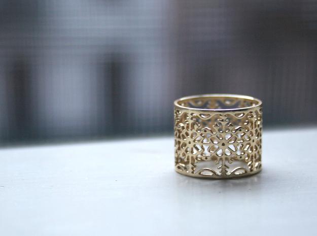 Snow Flake Filigree Ring 3d printed Polished Brass