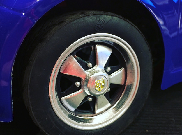 """Fuchs"" Wheel Cap, Porsche Emblem RIM004-0B in Smoothest Fine Detail Plastic"
