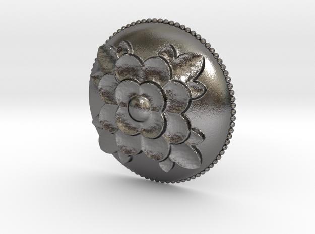 Roses Relief Pendant in Polished Nickel Steel