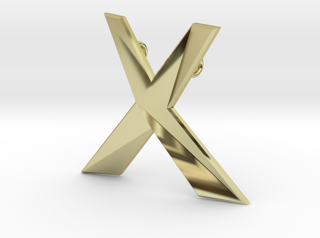 Distorted letter X in 18k Gold Plated Brass