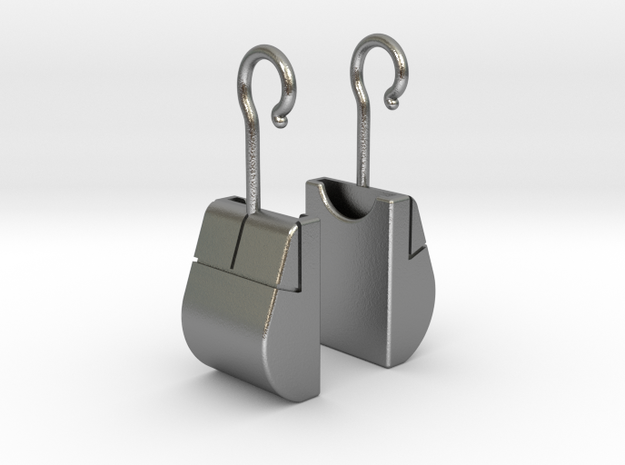 Mouse SD Card Holder Earrings in Raw Silver