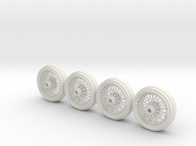 Full set of 1/8 scale Wire Wheels in White Natural Versatile Plastic