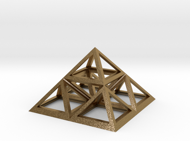 """Triforce Giza Pyramid 2"""" in Polished Gold Steel"""
