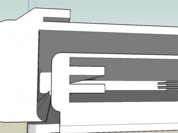 'Click' 3d printed Speaking of the bill cavity, here is a shot of the other end where a special 'flow' gently curls the end of the bill:  even when completely folded in half a bill is wider than 'Click'