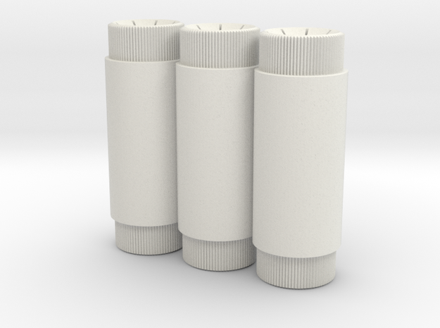 Shore Triple Canisters in White Natural Versatile Plastic
