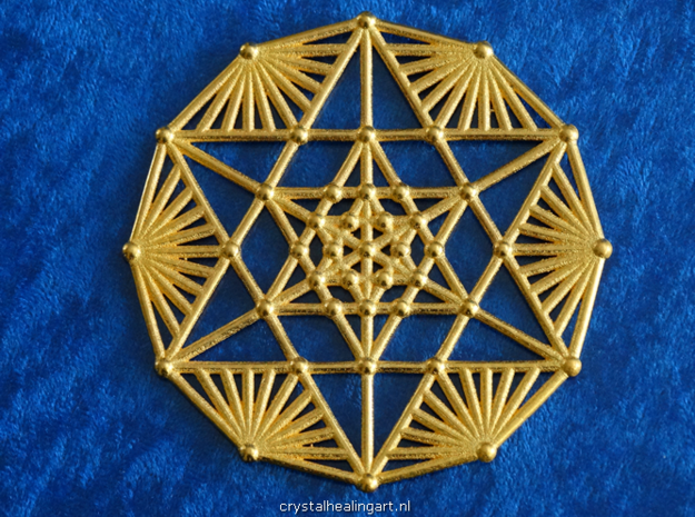 Merkaba Fractal in Polished Gold Steel