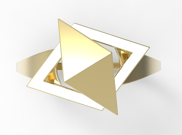 Female Ring-Crystal G in 18k Gold Plated Brass: 10 / 61.5