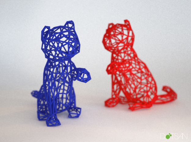 3D Wire Kitten (Not Exploding Kittens) in White Strong & Flexible