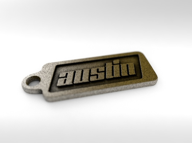Austin, Texas Keychain in Polished Bronze Steel