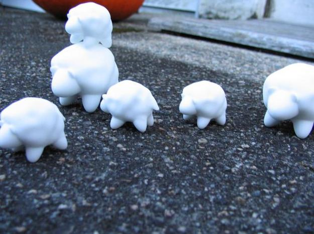 Hollow Sheep (Small) 3d printed After arriving, there were no visible facets from undertesselation of the model- Subdividing and then optimizing by angle probably helped.