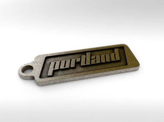 Portland, Oregon Keychain in Polished Bronze Steel