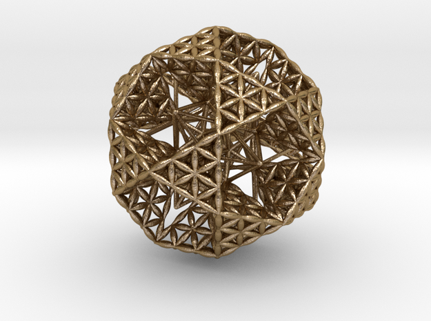 Double Nested Flower Of Life IcosiDodecahedron 2.3 in Polished Gold Steel