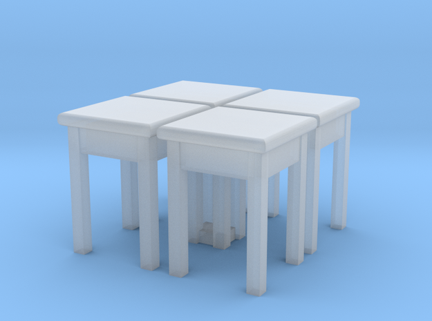 H0 Kitchen Stool 01 4 pcs. 1:87 in Smooth Fine Detail Plastic