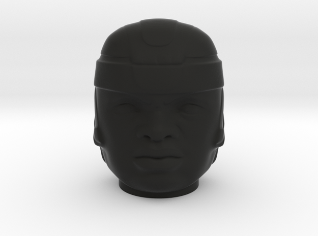 Olmec Head  in Black Natural Versatile Plastic: Small