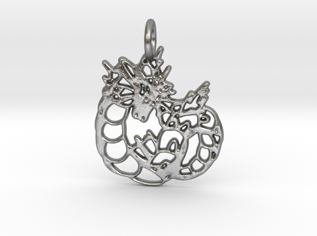 Gyarados Pendant in Raw Silver