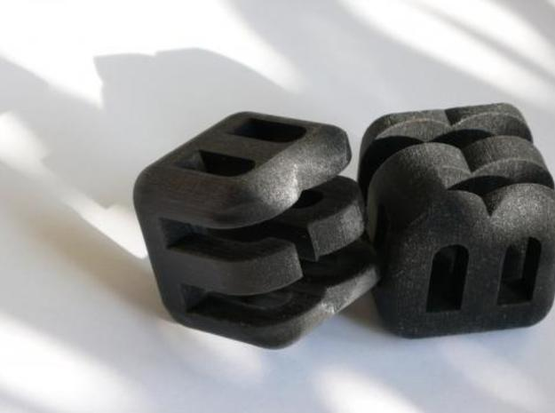 G E B lower (4x4x4) 3d printed Black Strong & Flexible