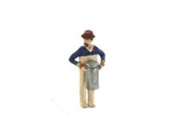 S Dairyman lugging Milk Can Figure in Smooth Fine Detail Plastic