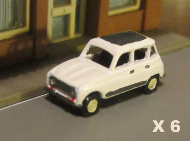 Renault 4 Hatchback 1:160 scale (Lot of 6 cars) in Smooth Fine Detail Plastic