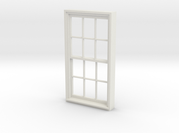 Window, 40in X 74in, 12 Panes, 1/32 Scale in White Natural Versatile Plastic
