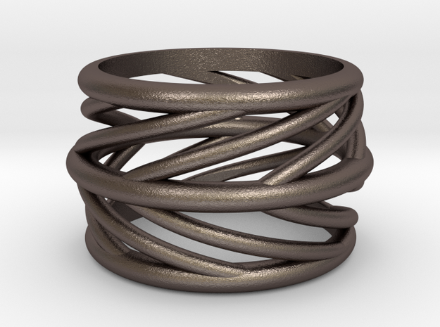 Silvia Swirl Ring in Stainless Steel: 6 / 51.5
