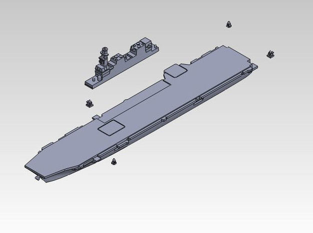 1:3000 multipart 22DDH Izumo - Hull 3d printed ASSEMBLY