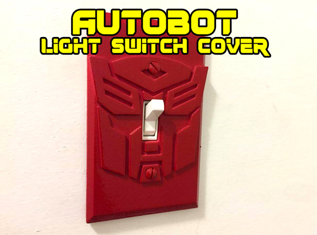 Autobot Faction Symbol Light Switch Plate in White Natural Versatile Plastic