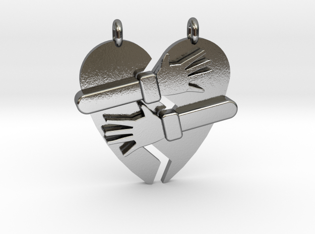 Hold My Heart Pendant (Two-Piece) in Polished Silver