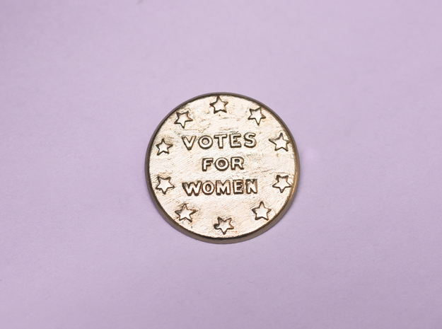 Votes For Women Button with Pin Back in Raw Bronze