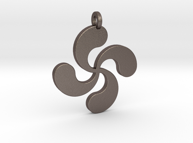 Lauburu pendant in Polished Bronzed Silver Steel