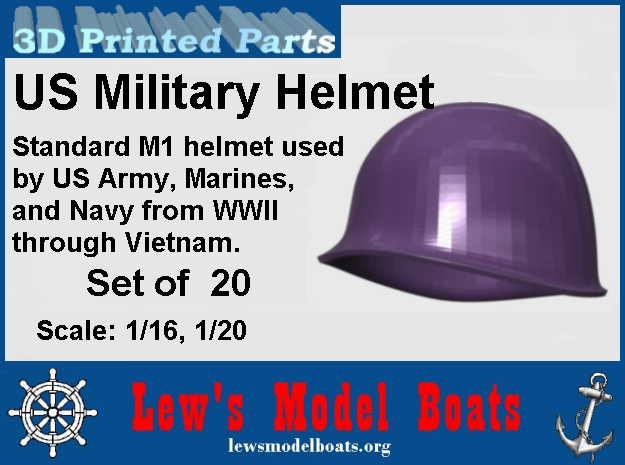 Hemet, US Army, WWII through Vietnam, 1/16 & 1/20