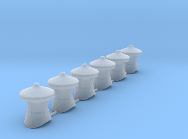 QR Vent Curved Roof X 6 in Smoothest Fine Detail Plastic: 1:87 - HO