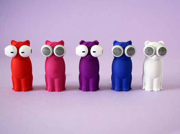 Kitty Cat Earbud Storage Case 3d printed A Bud-E line up...pick your favorite color.