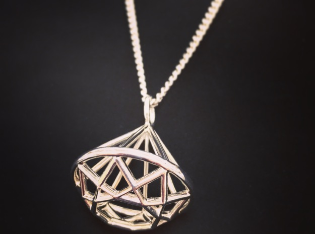 Diamond Wire Pendant in Fine Detail Polished Silver