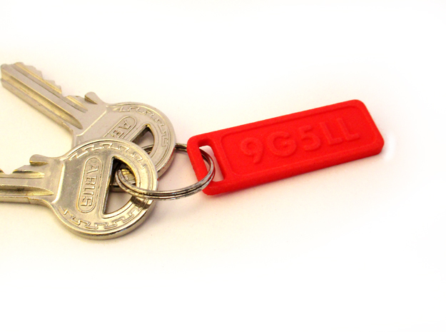 Keychain your callsign or name in Red Processed Versatile Plastic